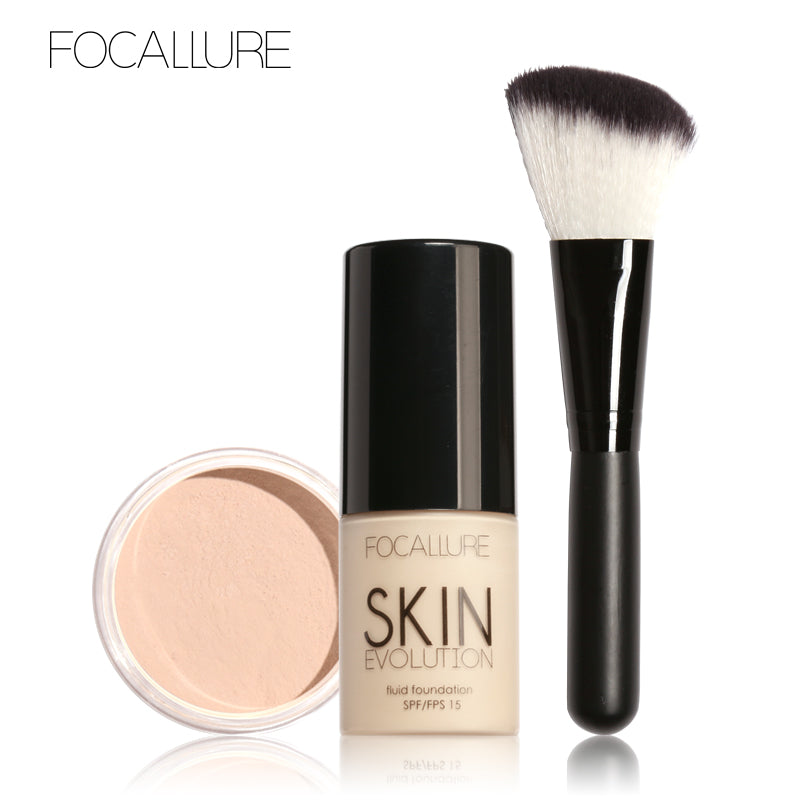 FOCALLURE 3 Piece Pro Face Makeup Daily Foundation Cream Loose Powder & Makeup Brush