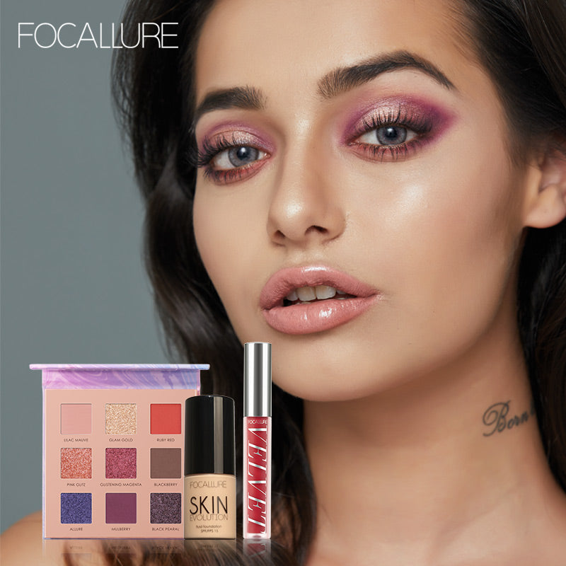 FOCALLURE Make up Sets 3 Pcs Daily Cosmetics Gift Set Include 9 Colors Pigment Eyeshadow Palette Liquid Lipstick Foundation