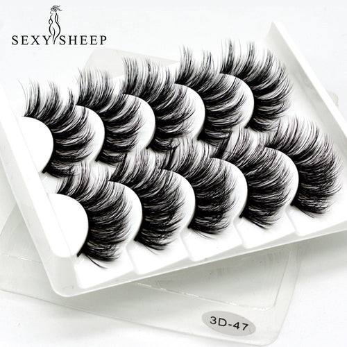 SEXYSHEEP 5 Pairs 3D Mink Wispy Hair False Eyelashes Natural/Thick