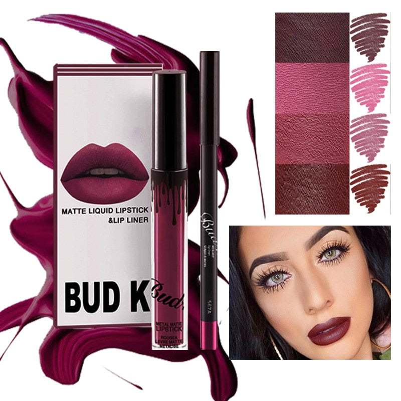 BUD K  Matte Liquid Lipstick + Lip Liner Pencil 2 PC/Set