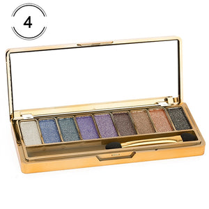 Metallic Smokey Eye Shadow Palette - 9 Colors