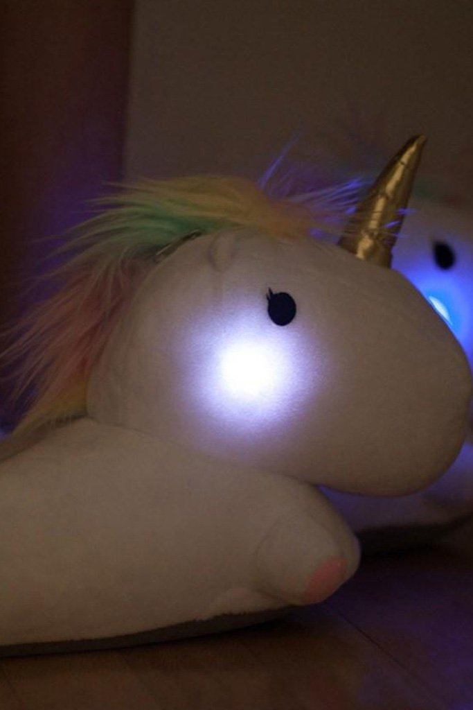 98d611bd05a5 Unicorn - Rainbow Unicorn Slippers with Cute Glowing Light up ...