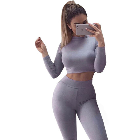 Long Sleeve Crop Top 2Piece
