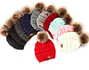 Cap, Luxury Wool Knit w/Fur Pom