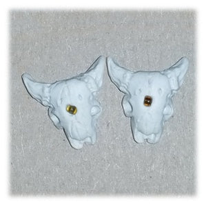 Clay Skull Earrings, White