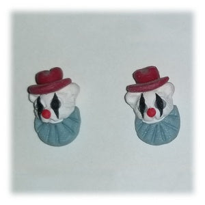 Clay Teddy Bear Earrings, Mini White Clown