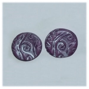Clay Indian Design Earrings, Purple Post