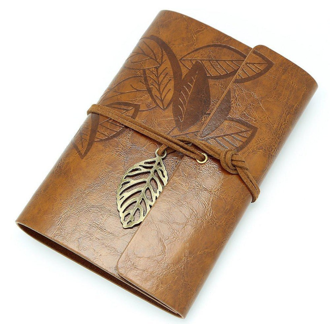 Leather Notebook with Leaf