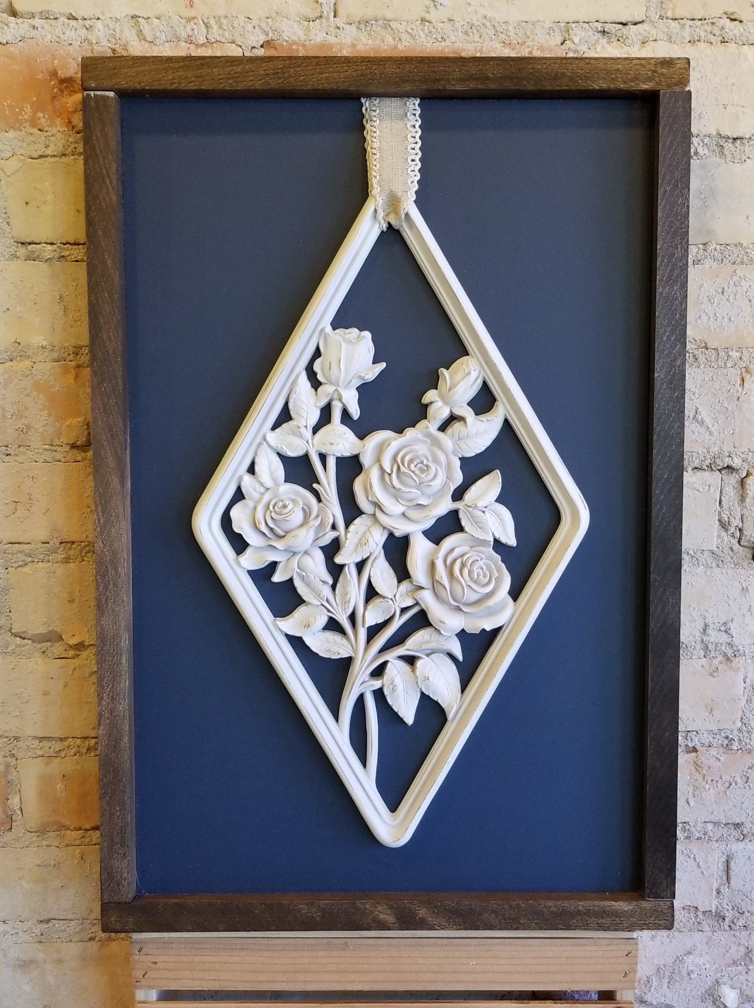 Wooden Navy Blue Roses Sign