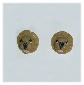 Clay Exotic Animal Earrings, Mini Lion