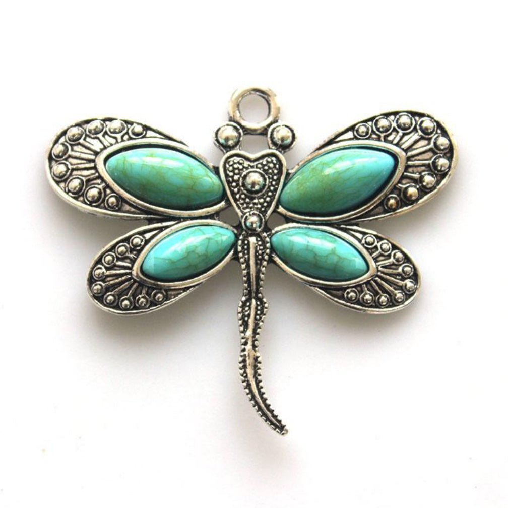 Necklace, Dragonfly w/turquoise