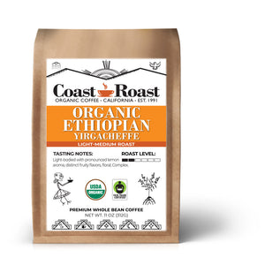 Organic Ethiopian Yirgacheffe Light-Medium Whole Bean Coffee - Coast Roast Organic Coffee