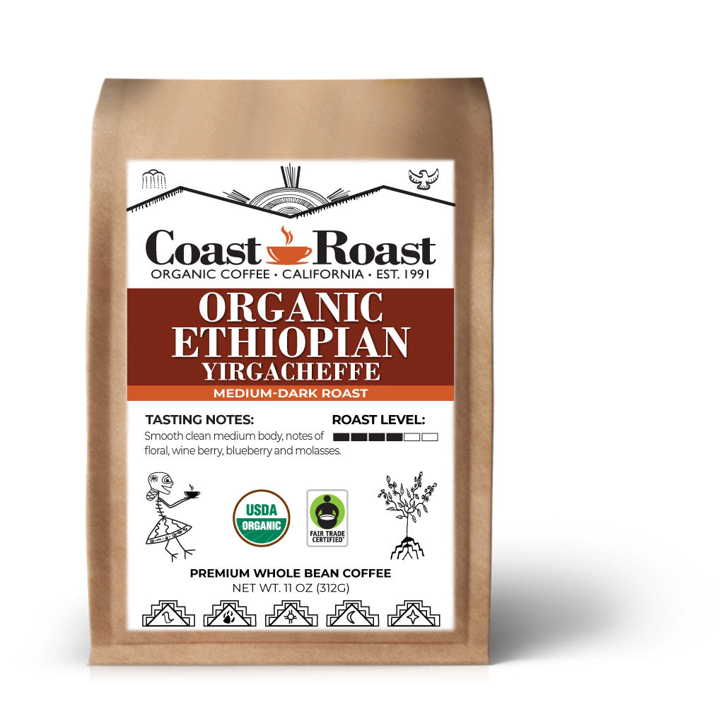 Organic Ethiopian Yirgacheffe Medium-Dark Whole Bean Coffee - Coast Roast Organic Coffee