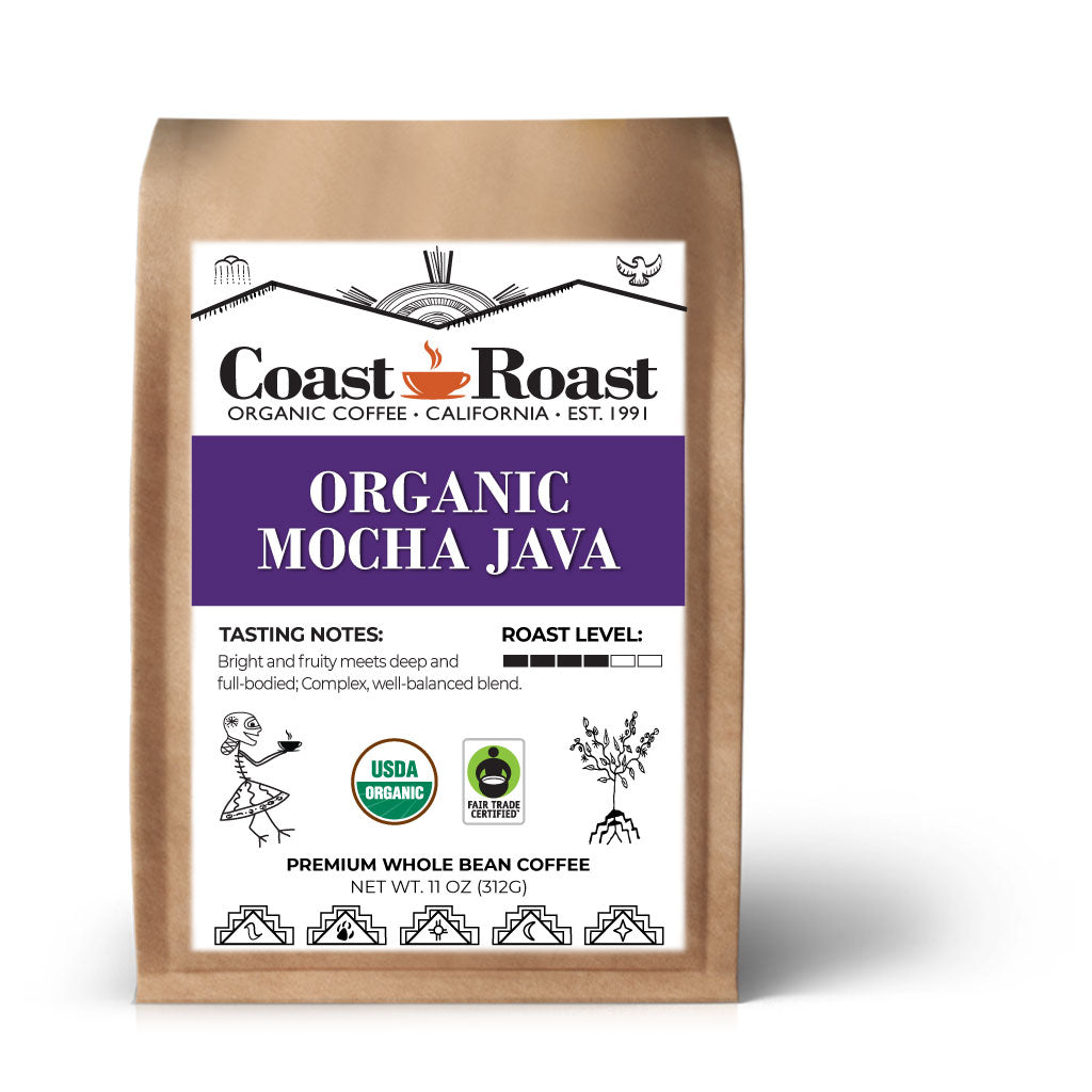 Organic Mocha Java Whole Bean Coffee Blend - Coast Roast Organic Coffee