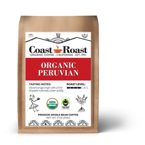 Organic Peruvian Whole Bean Coffee Single Origin - Coast Roast Organic Coffee