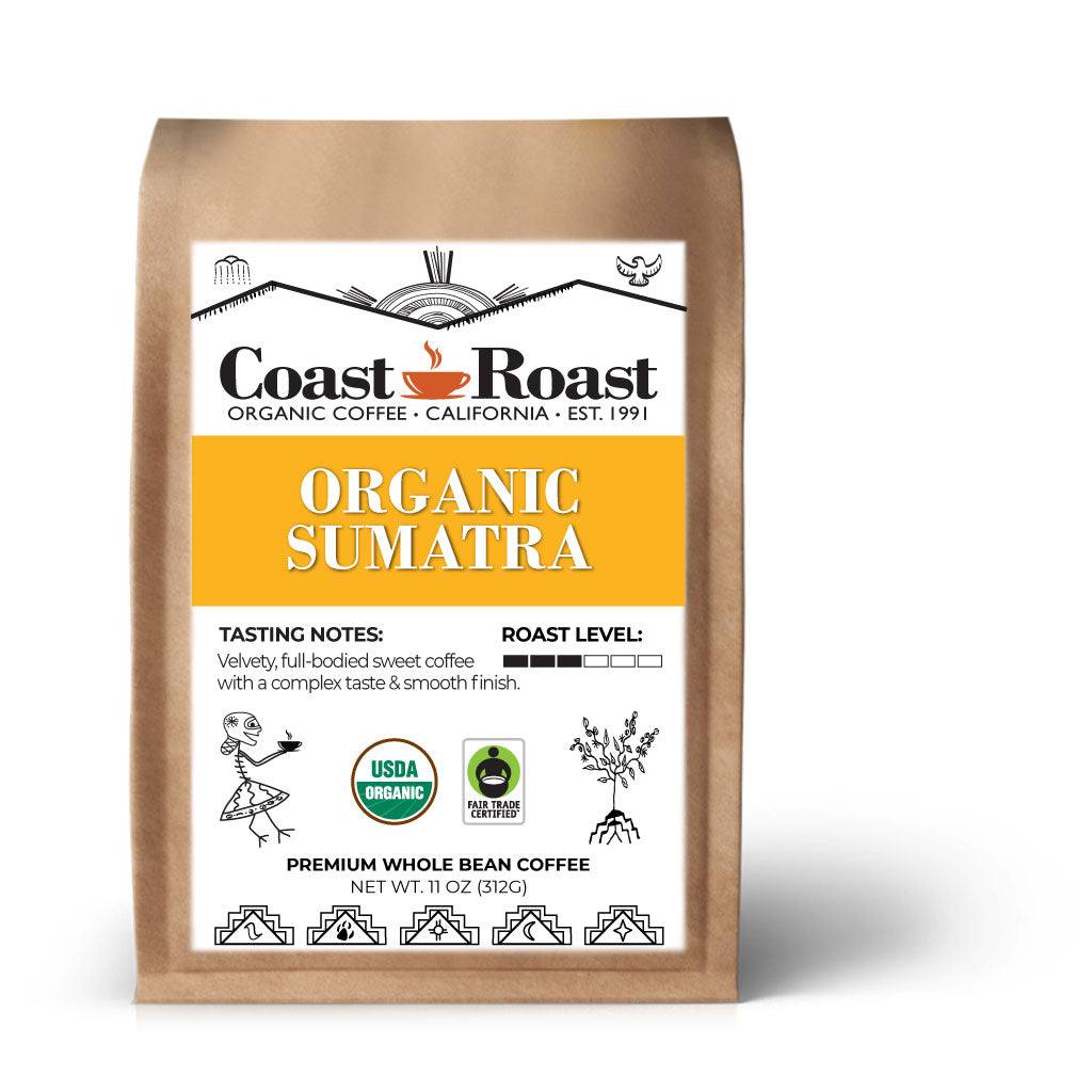 Organic Sumatra Whole Bean Coffee Single Origin - Coast Roast Organic Coffee