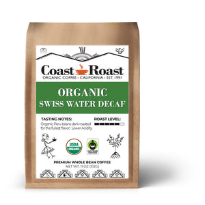 Organic Swiss Water Decaf Whole Bean Coffee - Coast Roast Organic Coffee