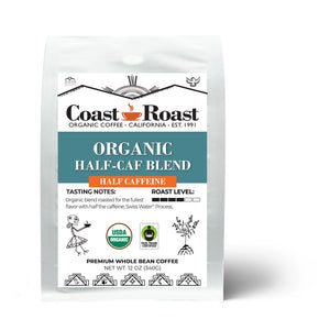 Organic Swiss Water Half-Caf Blend Whole Bean Coffee - Coast Roast Organic Coffee