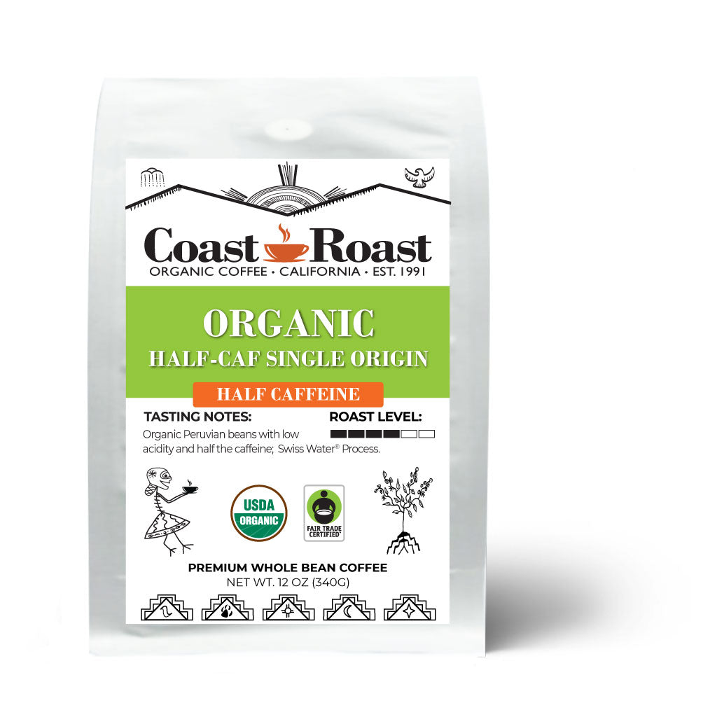 Organic Swiss Water Half-Caf Single Origin Whole Bean Coffee - Coast Roast Organic Coffee