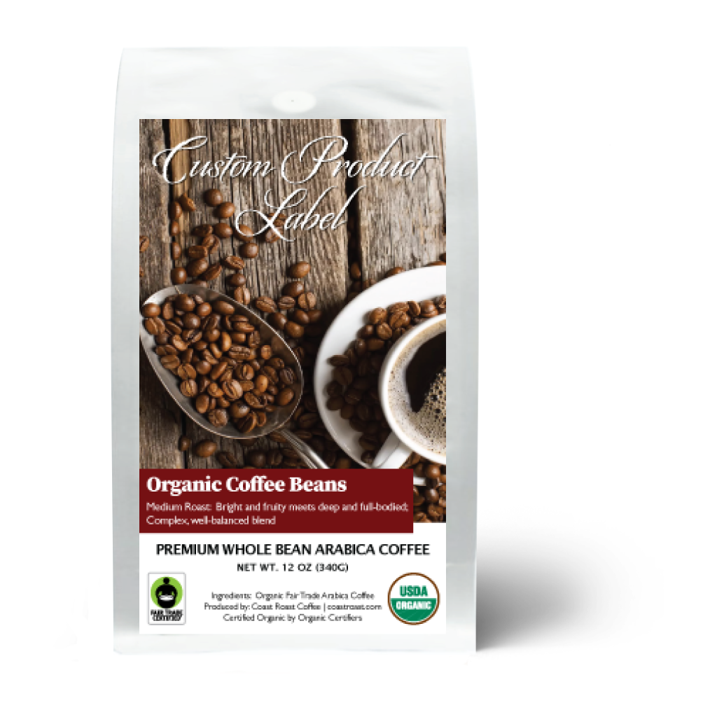 Custom Label - Organic Swiss Water Half-Caf Single Origin 12oz - Coast Roast Organic Coffee