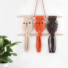 Load image into Gallery viewer, Three Owls Macrame Woven Wall Hanging Art Decor