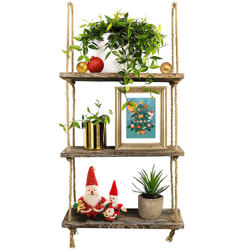 3 Tier Wall Shelves Rustic Home Wall Decor Brown
