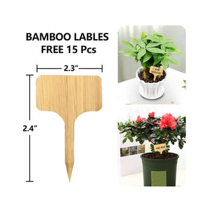 15 PCs Plant Saucers Drip Trays with 15 PCs Bamboo Plant Labels for Indoor Flower Pots