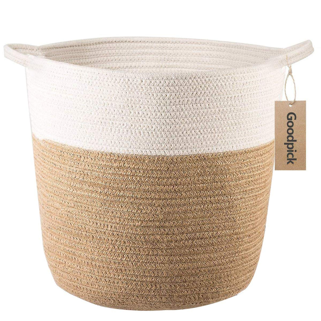 XL Jute Rope Woven Laundry Basket with Handles Baby Hamper Bedroom Storage