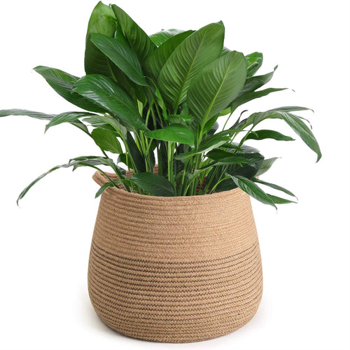 Jute Belly Plant Basket Woven Organizer For Room Storage