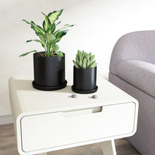Load image into Gallery viewer, 2 Pcs Ceramic Plant Pots Indoor Modern Planters Black For Bedroom