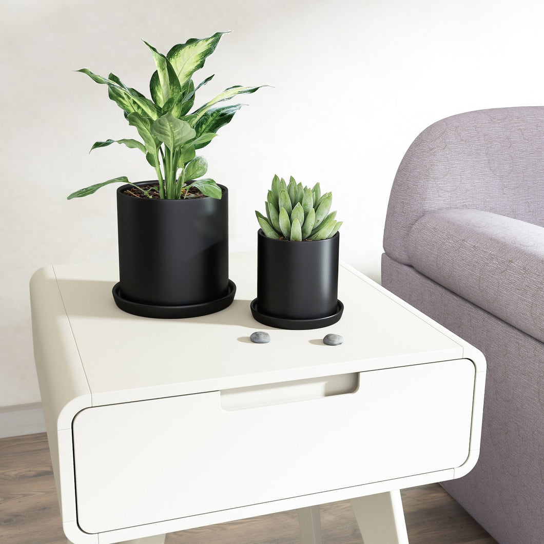 2 Pcs Ceramic Plant Pots Indoor Modern Planters Black For Bedroom