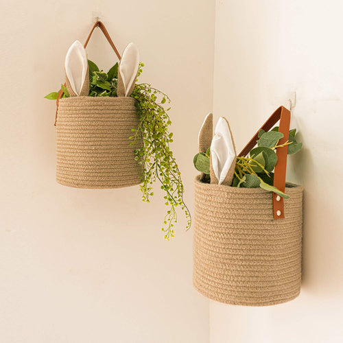 2 Pack Jute Hanging Basket With Bunny Ear