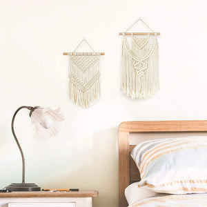 2 Pcs Small Macrame Wall Hanging Tapestry Boho Wall Decor Beige