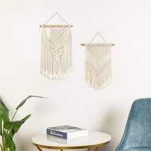 Load image into Gallery viewer, 2 Pcs Small Macrame Wall Hanging Tapestry Boho Wall Decor Beige