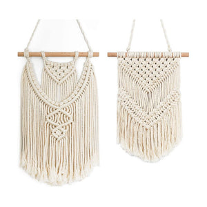 2 Pcs Small Macrame Wall Hanging Tapestry Boho Wall Decor Beige timeyard