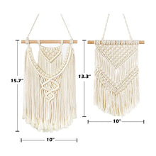 Load image into Gallery viewer, 2 Pcs Small Macrame Wall Hanging Tapestry Boho Wall Decor Beige Timeyard