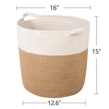 Load image into Gallery viewer, XL Jute Rope Woven Laundry Basket with Handles Baby Hamper Bedroom Storage how big size is