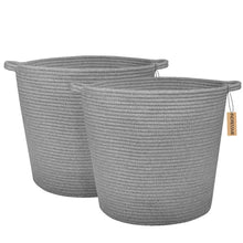 Load image into Gallery viewer, 2 PCs Grey Laundry Basket Cotton Rope Basket Soft Woven Floor Basket with Handles
