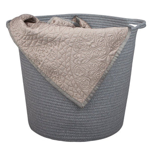 2 PCs Grey Laundry Basket Cotton Rope Basket Soft Woven Floor Basket with Handles