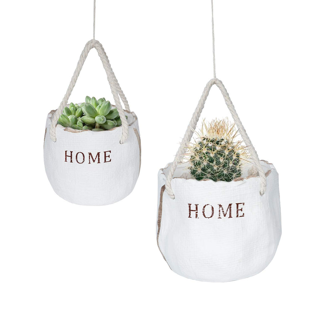 2 Pcs Ceramic Flower Pots Hanging Planter with Ropes