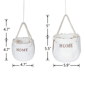 2 Pcs Ceramic Flower Pots Hanging Planter with Ropes Size