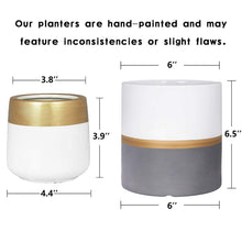 Load image into Gallery viewer, 2 Pcs Ceramic Pots Indoor Home Decor with Drainage Hole Size