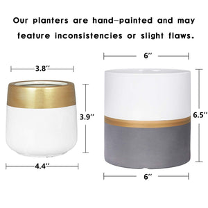 2 Pcs Ceramic Pots Indoor Home Decor with Drainage Hole Size