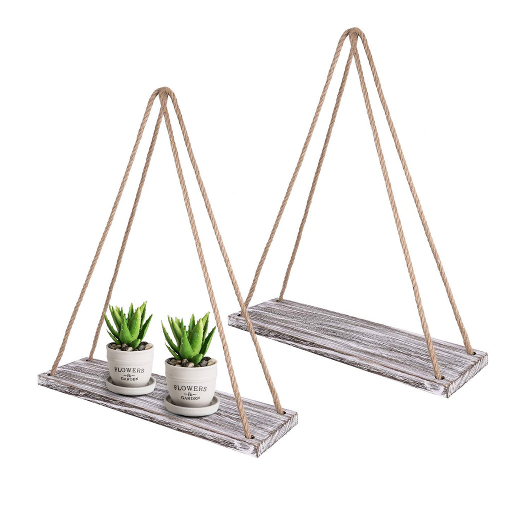2 Pcs DIY Floating Shelves White Distressed Wood Home Decor