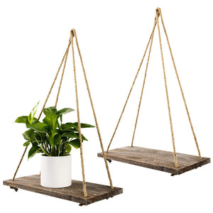2 Pcs Floating Wood Shelves Rustic Home Wall Decor