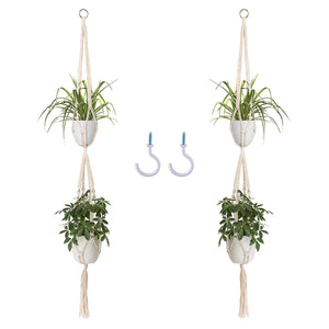 2 Pcs Handmade Double Indoor Hanging Planter Pot Holder