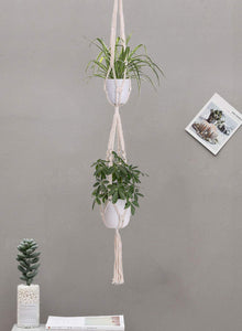 2 Pcs Handmade Double Indoor Hanging Planter Pot Holder Bedroom