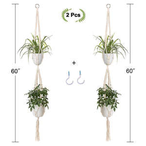2 Pcs Handmade Double Indoor Hanging Planter Pot Holder Size