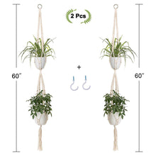 Load image into Gallery viewer, 2 Tier Macrame Plant Hanger Indoor Flower Holder With Hooks