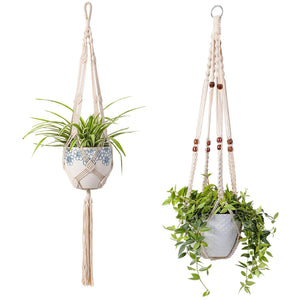2 Pcs Macrame Plant Holder In Different Designs Beige